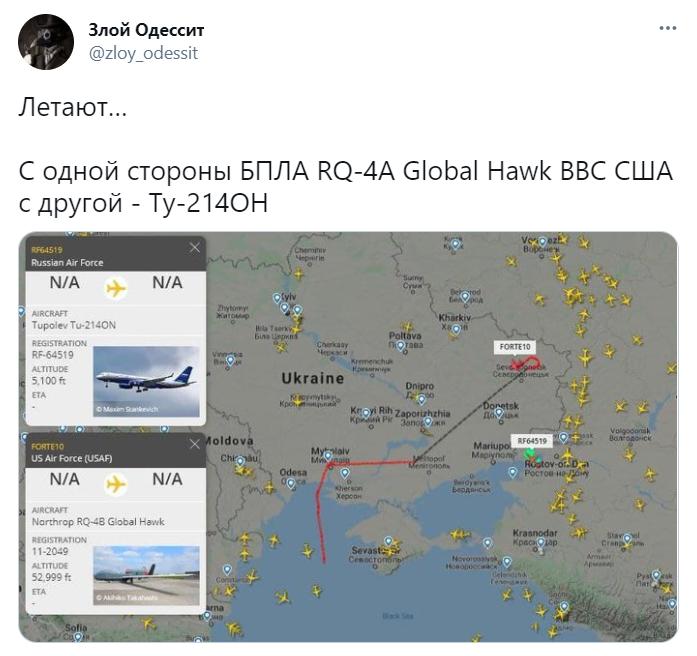 США направили на Донбасс RQ-4 Global Hawk – Россия в ответ подняла в воздух Ту-214ОН со стороны Таганрога 3