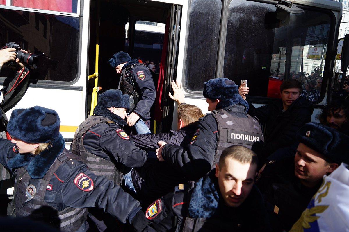 Нанесанкционированном митинге в российской столице задержали оппозиционера Навального