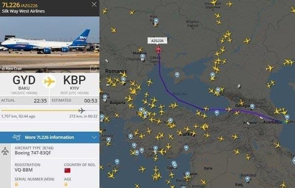 В Украину из Баку ночью прилетел Boeing 747: Азербайджан отправил в Киев тайный груз на фоне стягивания армии РФ 1