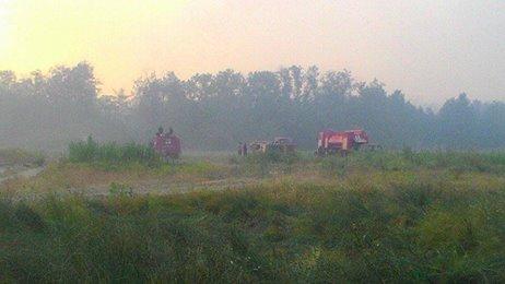 Авиацию привлекли ктушению лесного пожара вХерсонской области