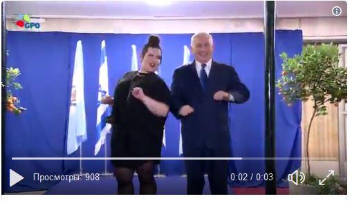 Премьер  Израиля исполнил танец «курочки» вместе спобедительницей «Евровидения»