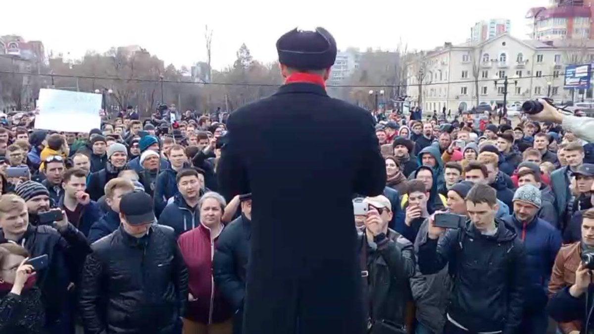 Намитинге против коррупции воВладивостоке задержали неменее 30 человек