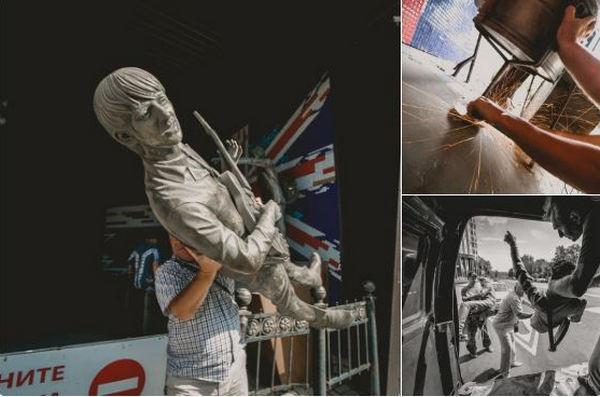 """Еще одна культовая скульптура Донецка отправилась на металлолом: оккупантов поймали за кражей """"Битлов"""""""