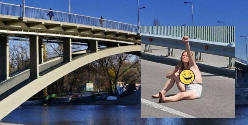 """В Киеве обнаженная девушка сидела посреди дороги на мосту возле Гидропарка: """"Никто не забирает..."""""""