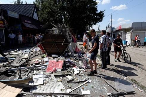 Последствия ночного обстрела Буденновского района Донецка