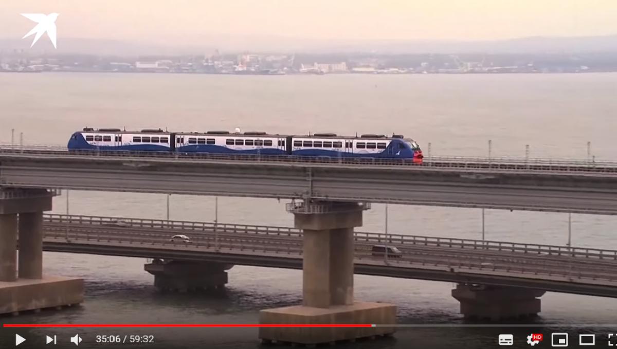 Первый поезд с Путиным на Крымском мосту: на видео заметили странную деталь