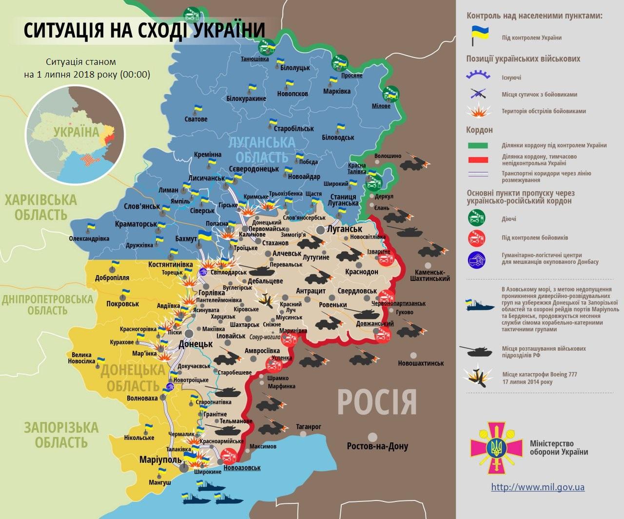 Карта ООС: расположение сил на Донбассе от 01.07.2018
