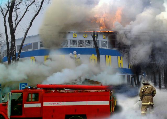 Крупный пожар в Донецке: очевидцы публикуют фото полностью уничтоженного здания дельфинария