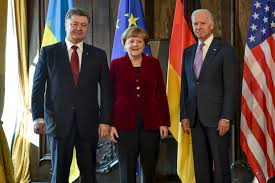 Меркель ,Порошенко ,Байден, встреча, проводят ,Донбасс