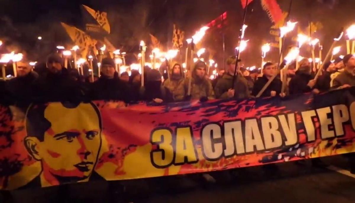 Киев, Украина, марш, Степан, Бандера, факельное шествие, 1 января, 2020 год,