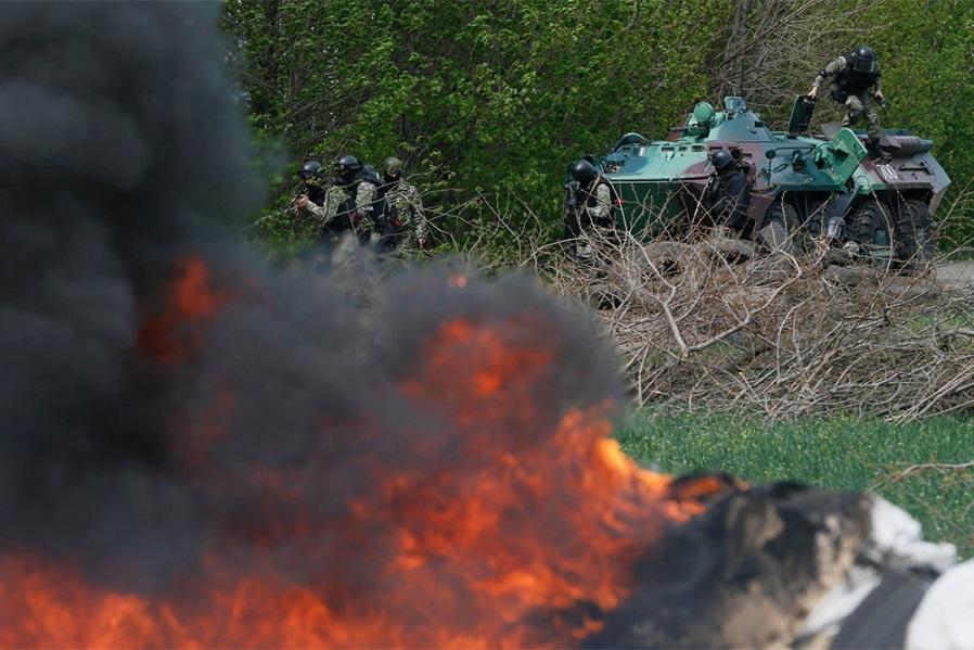 донецк, ато, пожар, ленинский район