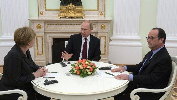 путин, меркель, олланд, политика, донбасс, порошенко, украина