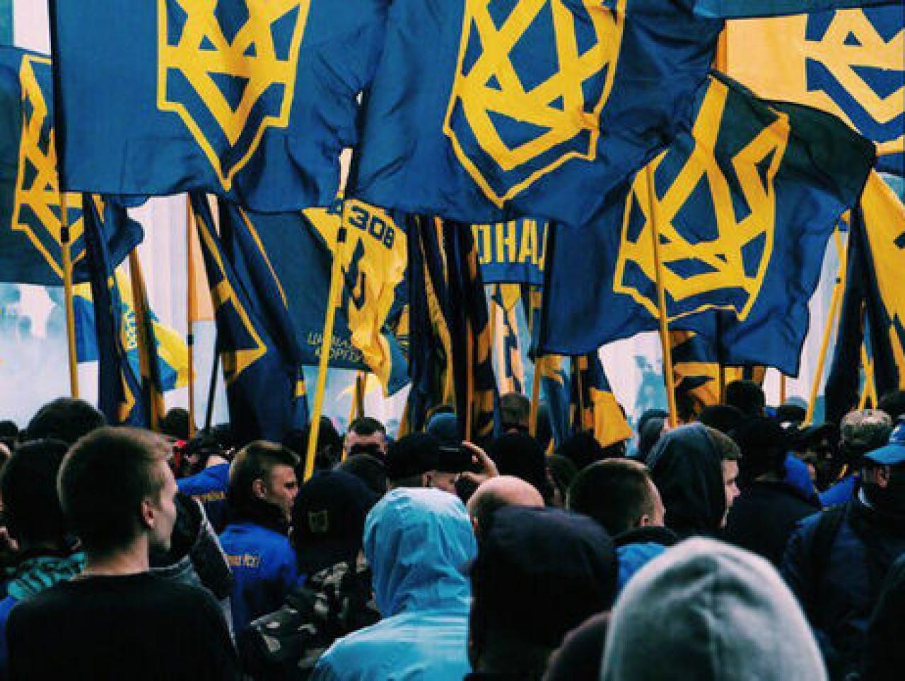 """""""Выслать консула Венгрии!"""" - активисты из """"Нацкорпуса"""" устроили массовую акцию возле МИДа - кадры"""