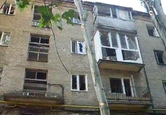 Последствия обстрела Киевского района Донецка 09.08