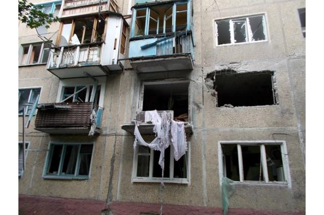 Последствия артобстрела центра Донецка