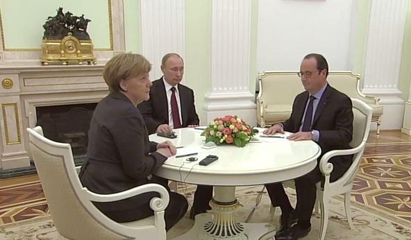 путин, меркель, олланд, встреча