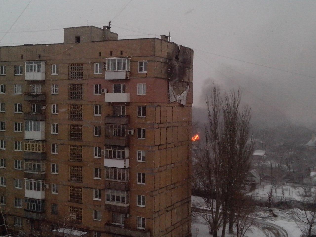 В Донецке микрорайон Текстильщик подвергся очередному обстрелу