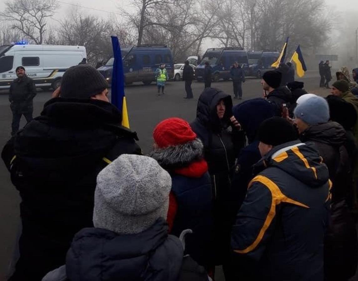 коронавирус, Украина, эвакуация, Новые Санжары, Полтавская область, полиция, протест