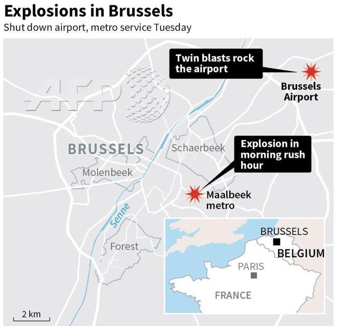 Стали известны цели брюссельских террористов: опубликована карта кровавых и сокрушительных нападений