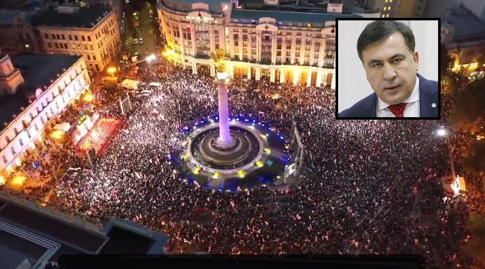 Партия Саакашвили объявила мобилизацию по всей стране: центр Тбилиси парализован многотысячным митингом
