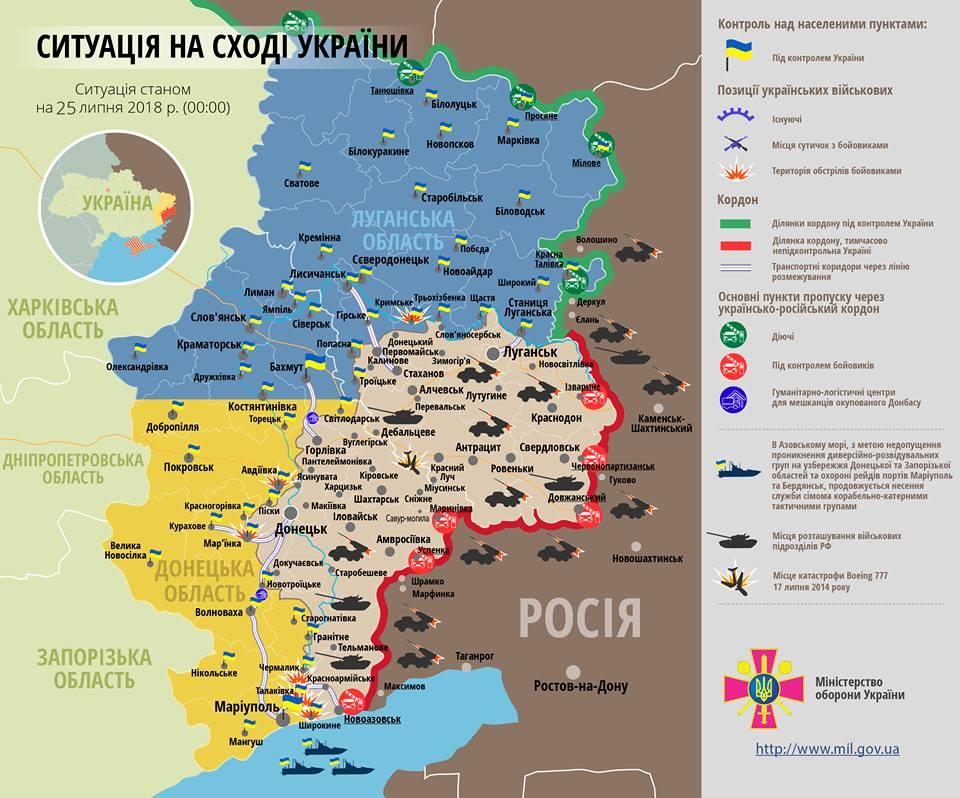 Карта ООС расположения сил и средств ВСУ и боевиков на Донбассе от 25.07.2018