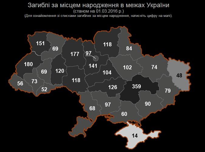 В Украине появилась интерактивная карта с поименным списком погибших в зоне АТО бойцов
