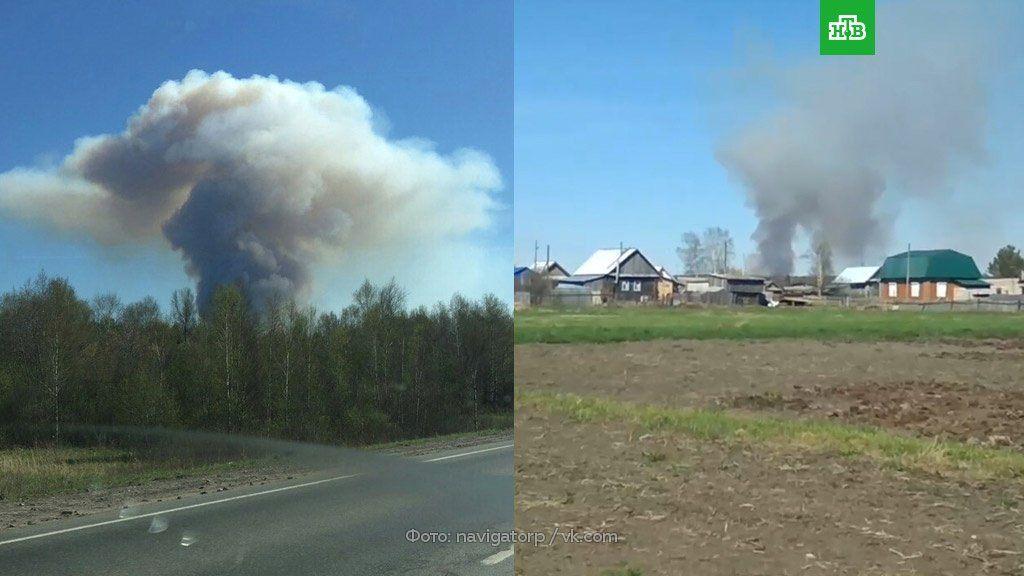 В России крупный пожар и взрывы снарядов на бывшем военном арсенале в Удмуртии
