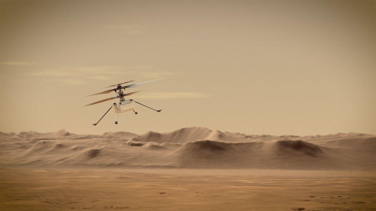 Вертолет NASA Ingenuity впервые пролетел на Марсе: исторические кадры