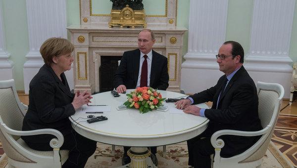 Переговоры Путина, Меркель и Олланда были прерваны