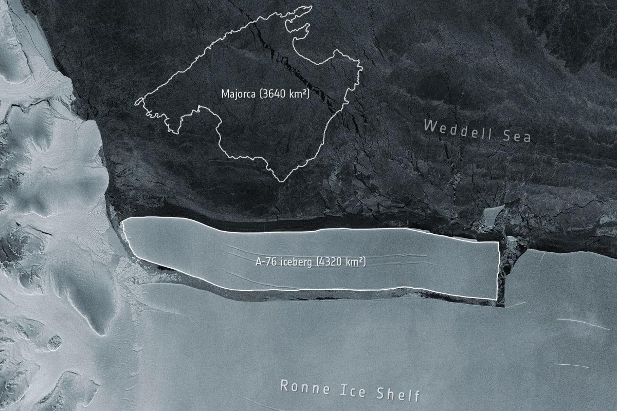 Самый большой в мире айсберг длиной в 170 км откололся от Антарктиды