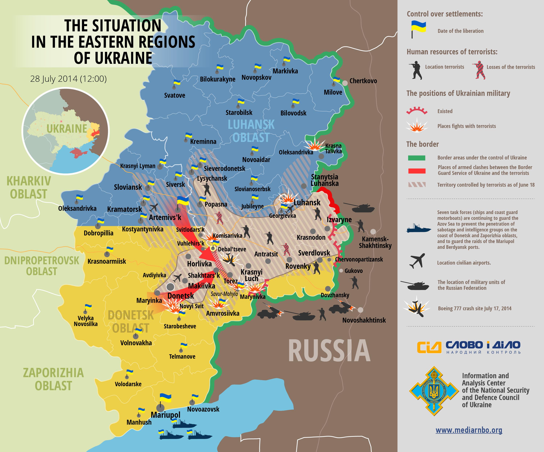 Карта АТО на востоке Украины 28.07.2014