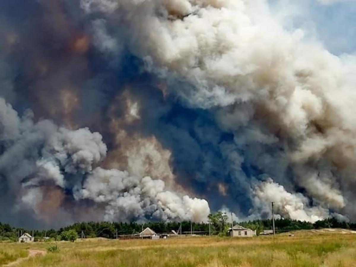 Новое видео пожара в Луганской области: огнем уничтожены десятки домов