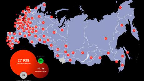 В России за сутки умерло рекордное число больных коронавирусом, заболевших уже почти 28 000