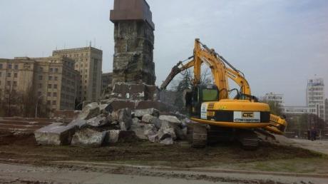 харьков, происшествия, декоммунизация, памятник ленину, демонтаж, восток украины