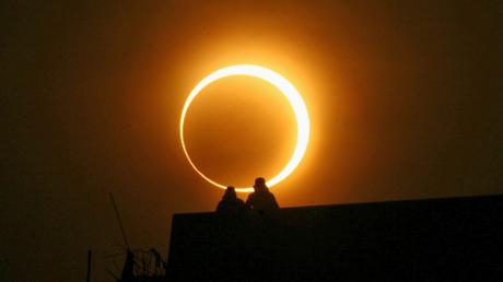 кольцо огня, затмение, Луна, Солнце, Земля