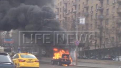 москва, мид россии, пожар, машина, происшествия