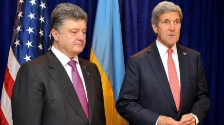 Мнения Порошенко и Керри едины: Необходимо восстановить контроль за украино-российской границей