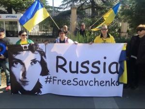 савченко, политика, грузия, митинг, живая цепь, общество