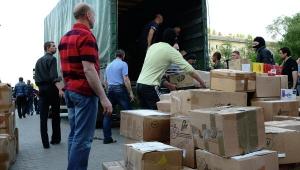 гуманитарная помощь, рф, луганск, красный крест, раздача