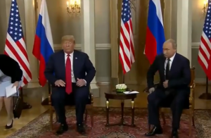 фото, путин, трамп, нервничает, саммит, финляндия, россия, сша, хельсинки, соцсети