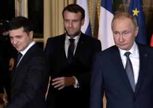 Париж, Макрон, Зеленский, Путин, Встреча.