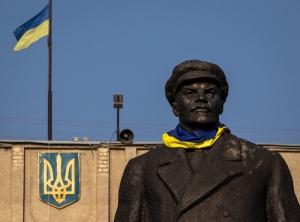 Славянск, памятник Ленину, ленинопад, общество, политика, Украина, Донбасс