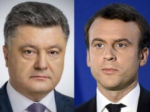 петр порошенко, эммануэл  макрон, франция, париж, переговоры, политика