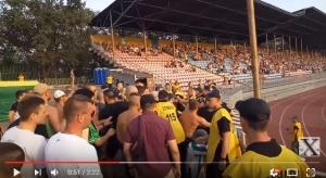 Футбол, Украина, украинская премьер-лига, 2 тур, Мариуполь-Карпаты, драка со стюардами, кадры, российский флаг