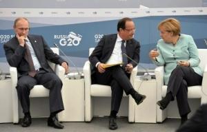 Владимир Путин, Ангела Меркель, Франсуа Олланд, Новости России