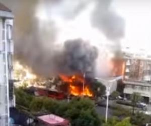 Китай, Чжэцзян, Ханчжоу, взрыв, магазин, происшествия, события, взрыв газа, Азия, Видео, кадры, смерть, мощный взрыв, Новости Китая