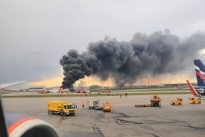 новости, Россия, Шереметьево, пожар, трагедия, SuperJet, самолет, горит, видео