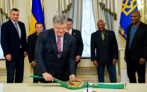 новости, Украина, спорт, бокс, будущее, Порошенко, пояс WBC с флагом Украины, конгресс Всемирного боксерского совета, Маурисио Сулейман, Киев, кадры, фото, видео