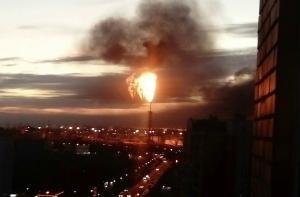 россия, москва, пожар, капотня, завод, нефть, чп