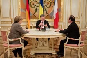 Порошенко, Меркель, Олланд, встреча, прекращение, огонь, надежда